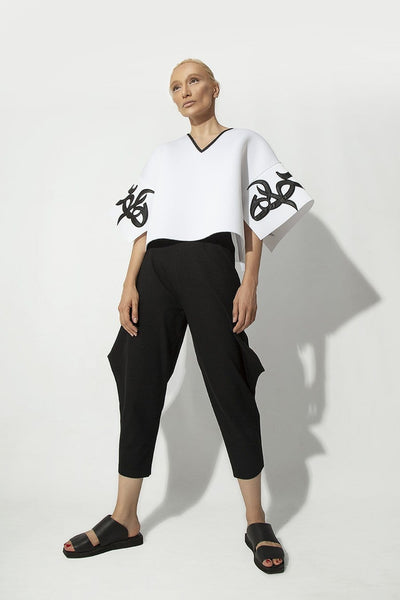 White Persian Typography Tops - Kowli Shop