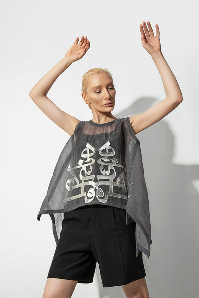 Grey Organza Persian Typography Tops - Kowli Shop