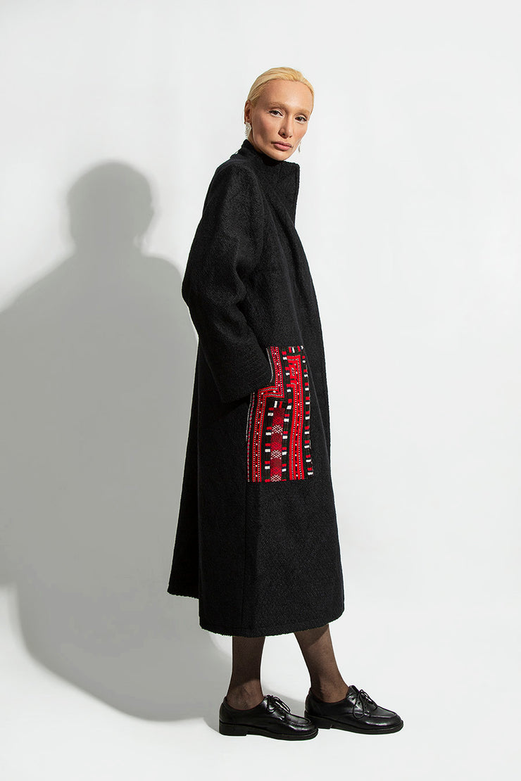Black Coats with Balouchi Handmade Pockets - Kowli Shop