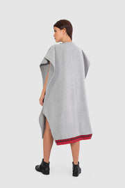 Light Grey Wool Poncho - Kowli Shop