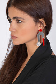 Red Horseshoe Earrings with Pahlavi Coins - Kowli Shop