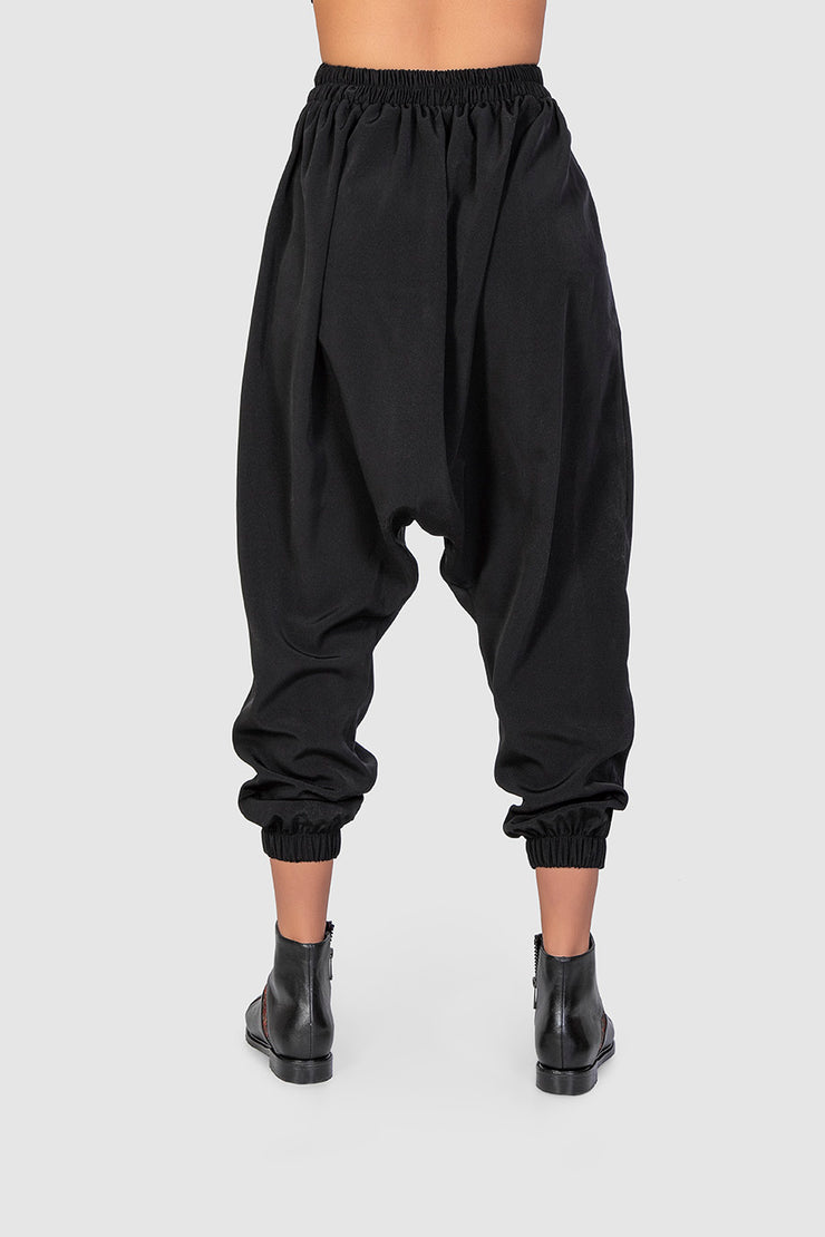 Black Embroidered Pleat Trousers - Kowli Shop