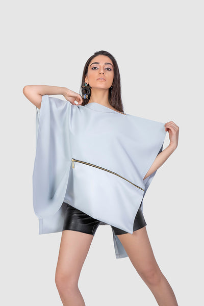 Satin Asymmetrical Loose Top - Kowli Shop