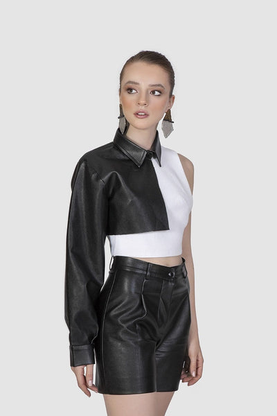 White Top with Leather Sleeve - Kowli Shop