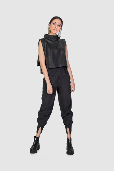 Black Leather Irregular Top - Kowli Shop