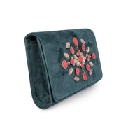 Green Velvet Classic Clutch with Orange Sermeh Embroidery - Kowli Shop