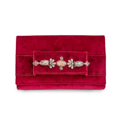 Red Velvet Classic Clutch with Sermeh Embroidery - Kowli Shop