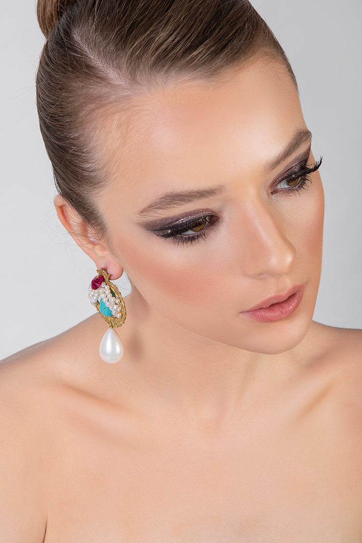 Pearl Curtain Earrings - Kowli Shop