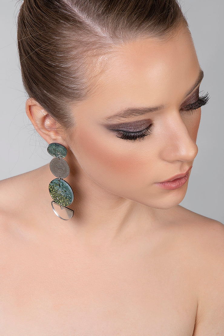 Asymmetrical Earrings with Pahlavi Coins - Kowli Shop