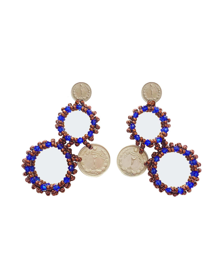 Triple Blue Mirror Earrings