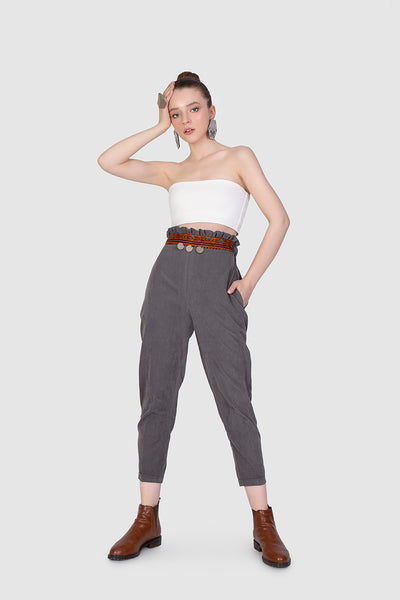 Grey Embroidered Pleat Trousers - Kowli Shop