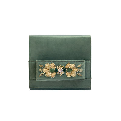 Green Pastel Square Velvet Classic Clutch with Sermeh Embroidery