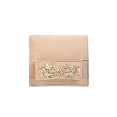 Pink Pastel Velvet Classic Clutch with Sermeh Embroidery