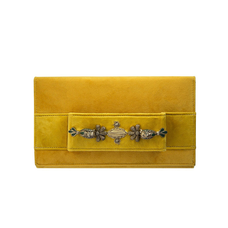 Yellow Velvet Classic Clutch with Sermeh Embroidery