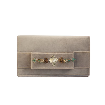 Purple Pastel Velvet Classic Clutch with Sermeh Embroidery