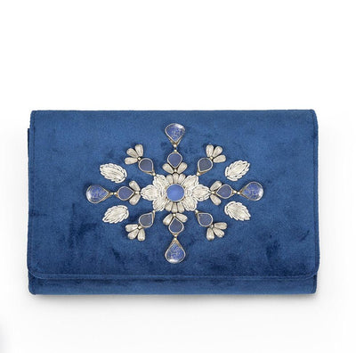 Blue Velvet Classic Clutch with Sermeh Embroidery - Kowli Shop