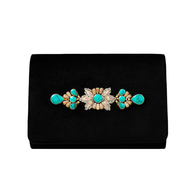 Black Velvet Classic Clutch with Sermeh Embroidery - Kowli Shop