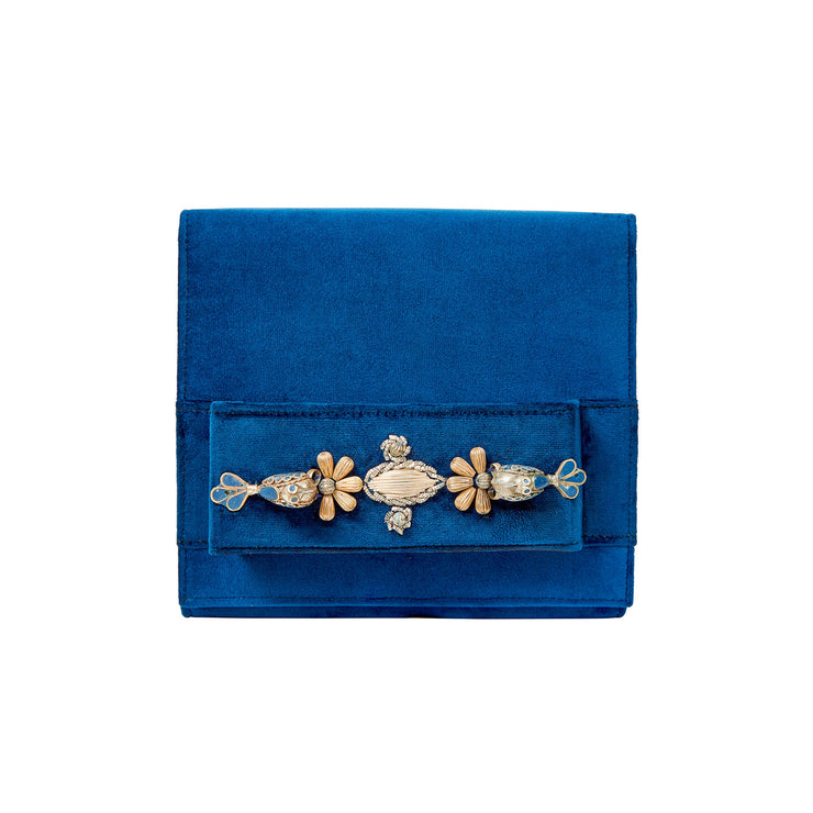 Blue Square Velvet Classic Clutch with Sermeh Embroidery - Kowli Shop