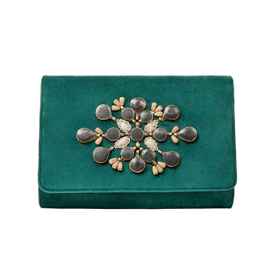 Green Velvet Classic Clutch with Black Sermeh Embroidery - Kowli Shop