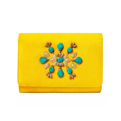 Yellow Velvet Classic Clutch with Sermeh Embroidery - Kowli Shop