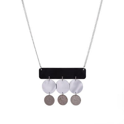 Geometric Necklace with mirrors & Pahlavi Coins - Kowli Shop