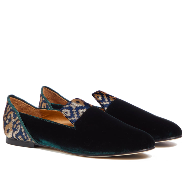 Green Forest of Gilan Emerald Velvet Loafers - Kowli Shop