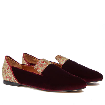 Red Essence of Shiraz Velvet Loafers - Kowli Shop