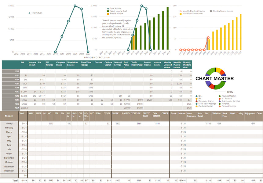 Tax Spreadsheet - Track Your Personal Finance & Income