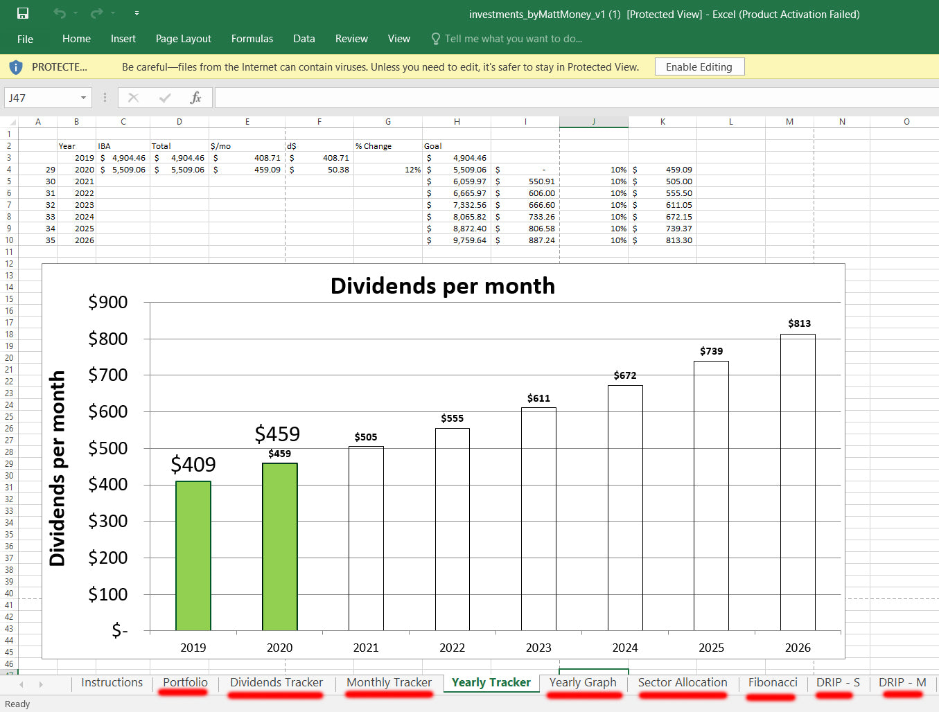 stock spreadsheet excel dividends
