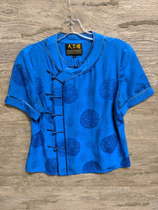 Royal Blue Asian Button Up - Closet Freekz