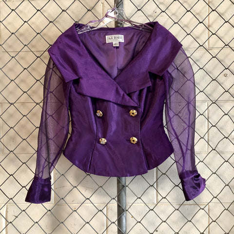 AS IS-A.J. Bari Purple Sheer and Satin Button Up - Closet Freekz