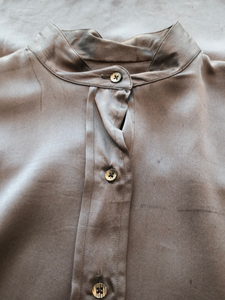 AS IS- Barry Bricken Charcoal Silk Button Up