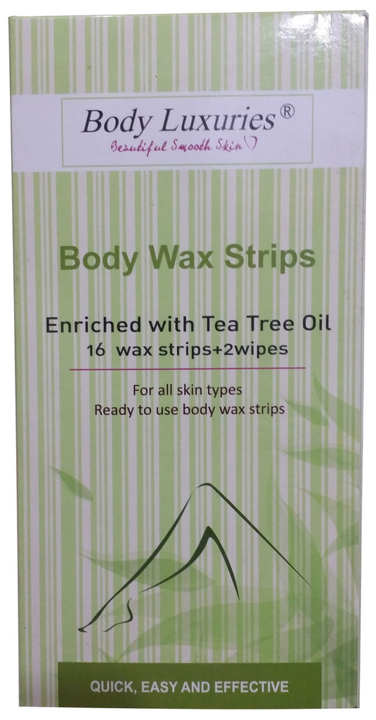 Body Luxuries Body Wax Enriched With Tea Tree Oil 16 Wax Strips + 2 Wipes