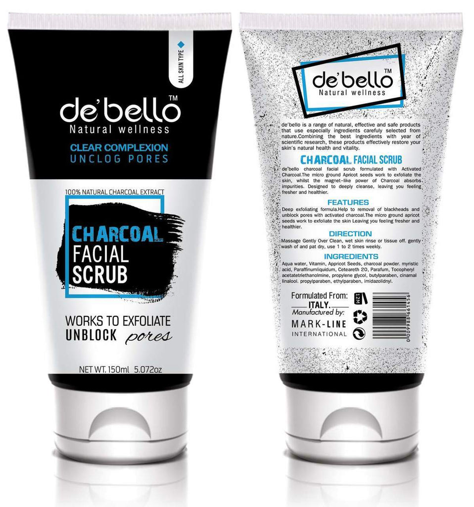 De'bello Charcoal Facial Scrub 150 ML