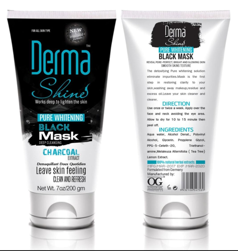 Derma Shine Pure Whitening Charcoal Black Mask 200 GM