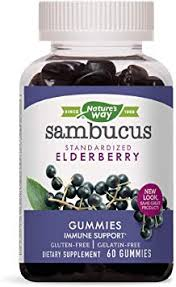 Nature's Way Sambucus Elderberry Gummies, Herbal Supplements with Vitamin C and Zinc, Gluten Free, Vegetarian, 60 Gummies