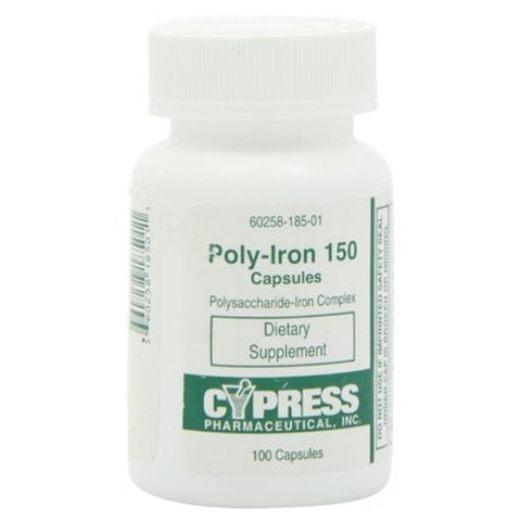 Cypress Poly-Iron 150 mg Capsules, 100 count