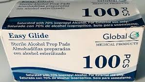 Global Alcohol Prep Pads, 100 count