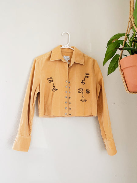 Yellow Corduroy Face Art Jacket Cropped