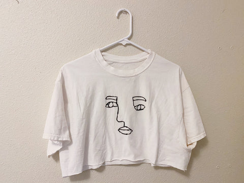 White Cropped Face T-shirt