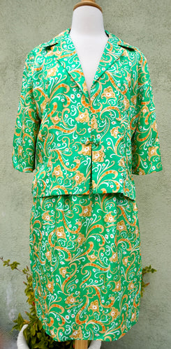 Vintage 1970s Green Silk Suit From Hong Kong