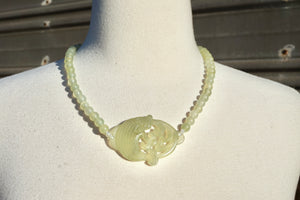 Vintage Jade Necklace With Fish Pendant