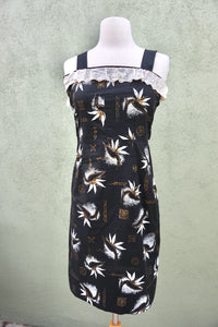Vintage 1950s Wiggle Cocktail Dress With Tropical Novelty Print And Metal Zipper