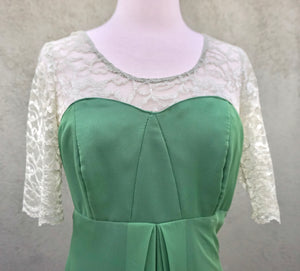 Vintage 1960s Green Maxi Formal Dress With Lace Detail