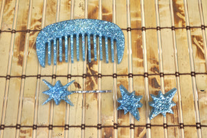 Mother Of Pearl In Blue Resin Earring, Hair Pin, And Comb Set