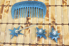 Load image into Gallery viewer, Mother Of Pearl In Blue Resin Earring, Hair Pin, And Comb Set