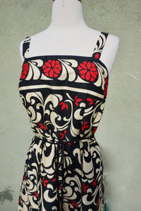 Sleeveless Floral Print Fit And Flare Belted Dress