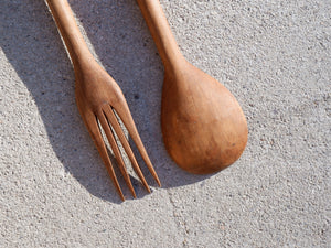 Vintage 1960s African Salad Serving Fork And Spoon In Teak Wood