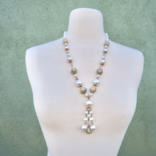 Load image into Gallery viewer, Vintage 1960s Faux Pearl Long Statement Necklace With Beading Detail