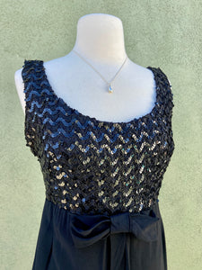 Vintage 1960s Little Black Dress With Sequin And Bow Detail